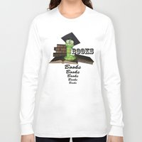 bookworm Long Sleeve T-shirts featuring Cute bookworm by nicky2342