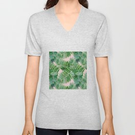 Green palm leaves on a light pink background. Unisex V-Neck