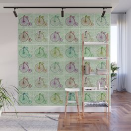 Penny Farthing Vintage Pastel Green Repeat Pattern Wall Mural