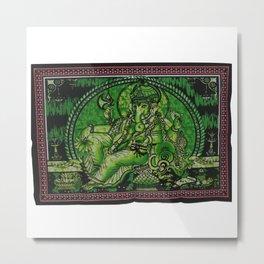 Indian Hindu God Ganesha Yoga Mat Green Wall Tapestry Metal Print