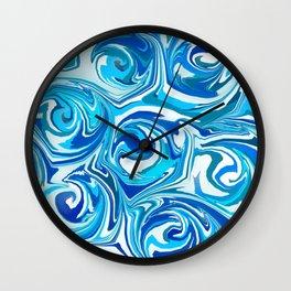 Aqua Blue Swirling Water Abstract Wall Clock