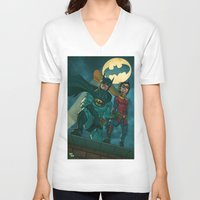 justice league V-neck T-shirts featuring bat man the watch men justice league man of steel by Brian Hollins art