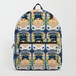 Baseball Blue Pinstripes - Rhubarb Pitchbatter - Victor version Backpack