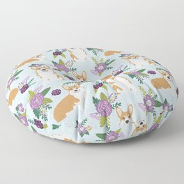 Corgi Floral Print - blue, purple, floral, spring, girls feminine corgi dog Floor Pillow