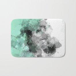Mint Green Paint Splatter Abstract Bath Mat