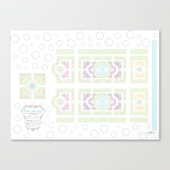 Typography Italian Garden Plan Canvas Print