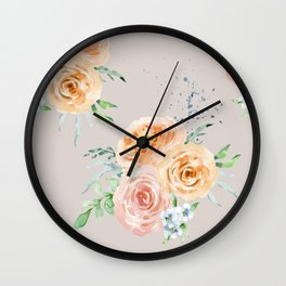 Pastel Floral Pattern 04 Wall Clock