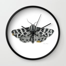 Kintsugi - A Graphite Drawing of a Moth by Brooke Figer Wall Clock