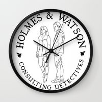 emma watson Wall Clocks featuring holmes and watson stamp by Emma Harckham