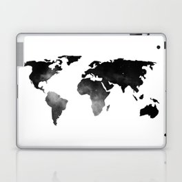 World Map Space Stars Black and White Laptop & iPad Skin