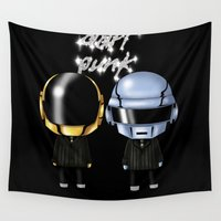 robots Wall Tapestries featuring Daft Robots by artwaste