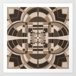 Brown Geometric Abstract Art Print