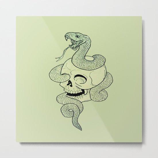 Skull Snake Metal Print