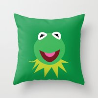 kermit Throw Pillows featuring Minimalist Kermit by Bryan Vogel