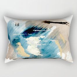 You are an Ocean - abstract India Ink & Acrylic in blue, gray, brown, black and white Rectangular Pillow