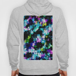 psychedelic geometric square pixel pattern abstract background in blue pink yellow Hoody