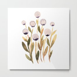 Simple watercolor flowers - purple and olive Metal Print