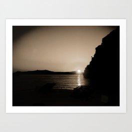 Sunset in Santorini Art Print