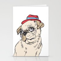 pug Stationery Cards featuring Pug by Madmi
