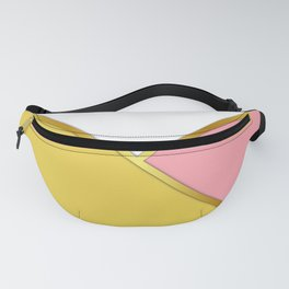 Color Block Paris Daisy Yellow Pink and White Triangles with Gold Banding Fanny Pack