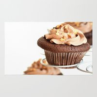 nutella Area & Throw Rugs featuring nutella cup cake by anna ramon photography