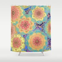 peach Shower Curtains featuring Obsession by micklyn