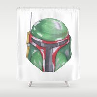 boba Shower Curtains featuring Boba Fett by S Holden Illustrations