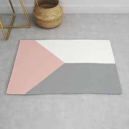 Pink Grey White Abstract Geometric Art Rug