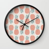 bag Wall Clocks featuring Pineapple  by withnopants