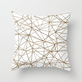 Geometric triangles glitter pattern. Modern stylish texture. Gold trendy glitter print background Throw Pillow