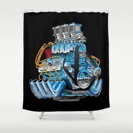 Classic Muscle Car Hot Rod Chrome Racing Engine Cartoon Shower Curtain