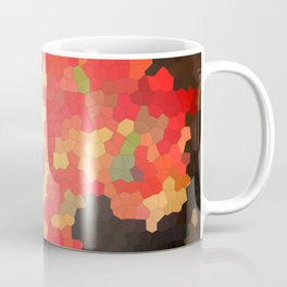 Autumn stained glass. Mosaic of red, orange, green and brown. Coffee Mug