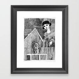 Girl on the top of her house. Framed Art Print