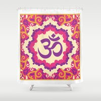 ohm Shower Curtains featuring Ohm Mantra Print in Purple Pink & Yellow by MY  HOME