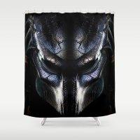 predator Shower Curtains featuring Predator Helmet by Veylow