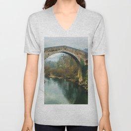 Asturias Roman Bridge Unisex V-Neck