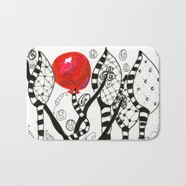 Pop of Color, Red Balloon Zendoodle in Fanciful Forest Bath Mat