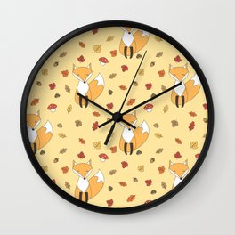 cute autumn pattern with leaves, foxes, mushrooms, acorns and chestnuts Wall Clock