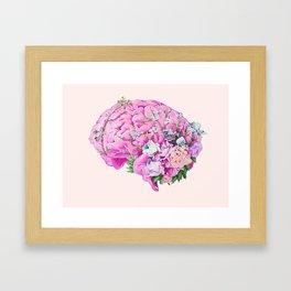 Floral Brain Pale Pink Framed Art Print