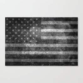 Black and White USA Flag in Grunge Canvas Print