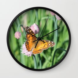 Orange Butterfly on Chives Wall Clock