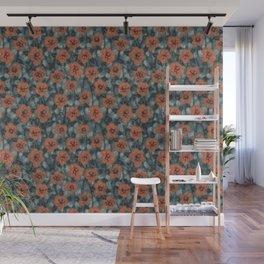 Orange Flowers, Floral Pattern, Fiber Texture, Felted Wool  Wall Mural