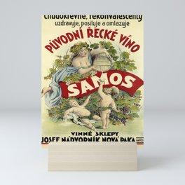 samos   puvodní recké víno. circa 1900  oude poster Mini Art Print