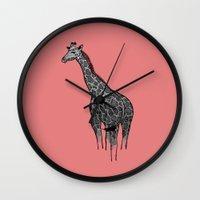 newspaper Wall Clocks featuring Newspaper Giraffe by Doolin