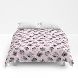 Dancing Black Pugs (pink) Comforters