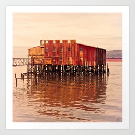 Old Red Net Shed, Building on Pier, Columbia River, Astoria Oregon Art Print