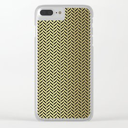 Gold Black and White Herringbone Pattern Clear iPhone Case