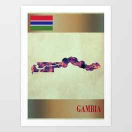 Gambia Map with Flag Art Print