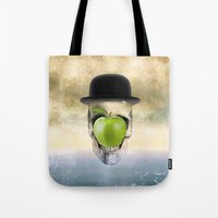 magritte Tote Bags featuring Magritte Skull by HenryWine
