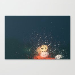 lights, rain, silence. Canvas Print